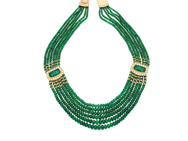 An emerald and diamond necklace, Tony White