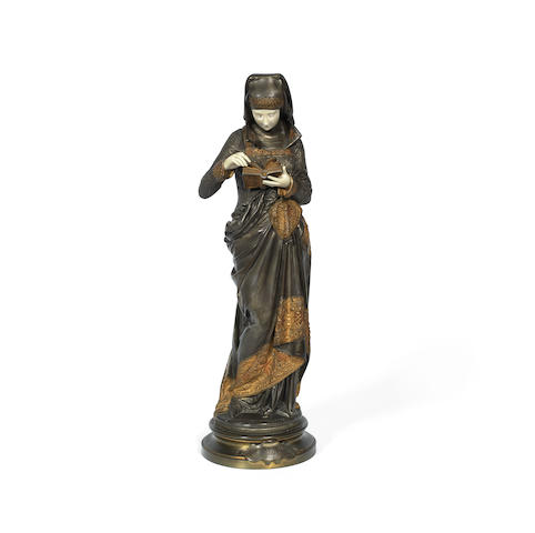 'Liseuse': An Ivory and Patinated Bronze Figure Cast and Carved From a Model by Albert Ernest de Carrier-Belleuse signed 'A.CARRIER-BELLEUSE' in the cast, circa 1900