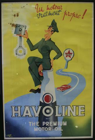 An advertising poster for Havoline, Belgian, 1948,