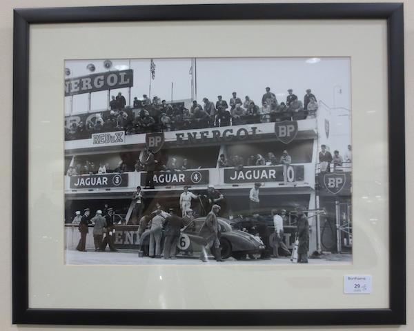Five monochrome motorsport photographs,