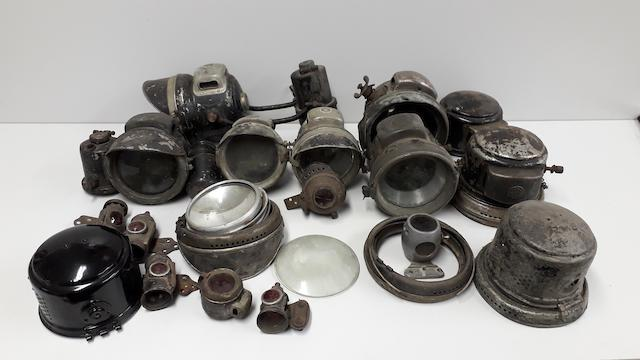 A selection of Vintage Acetylene headlamps and tail lamps  ((Qty))