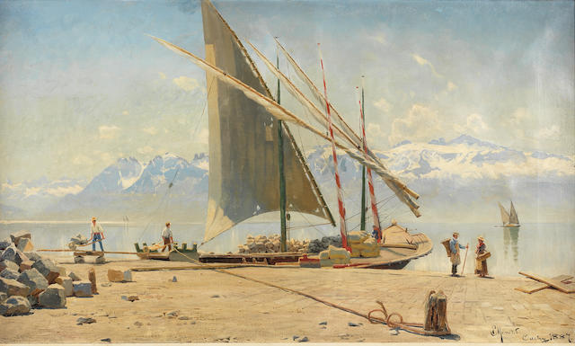 Peder Mørk Mønsted (Danish, 1859-1941) Unloading stone from a barge at Ouchy, Lac Léman
