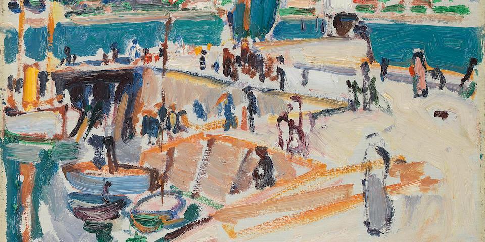 Samuel John Peploe RSA (British, 1871-1935) Royan harbour 27 x 34.9 cm. (10 5/8 x 13 3/4 in.)