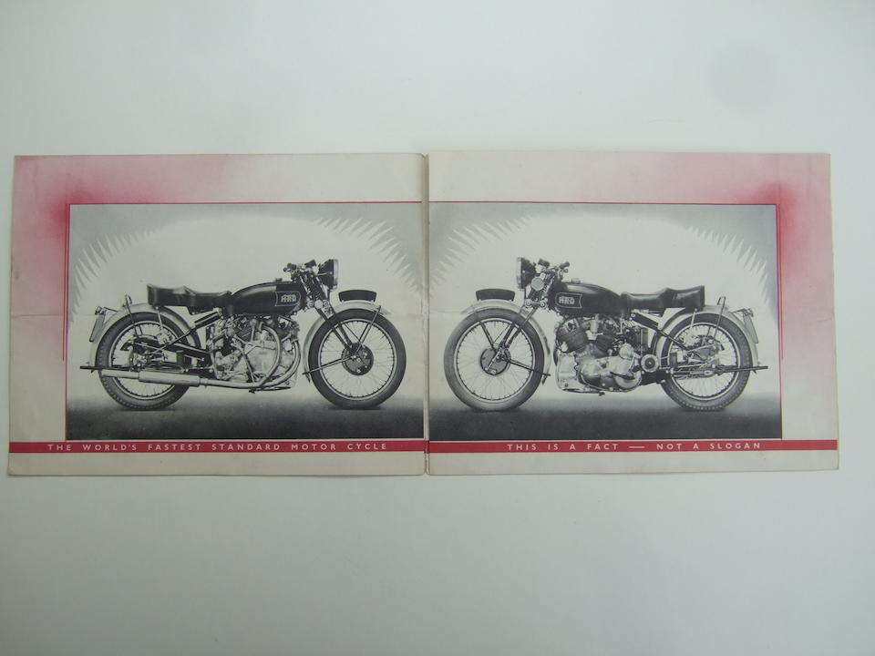 A Series 'B' The Vincent-HRD Rapide fold-out advertising pamphlet  ((2))