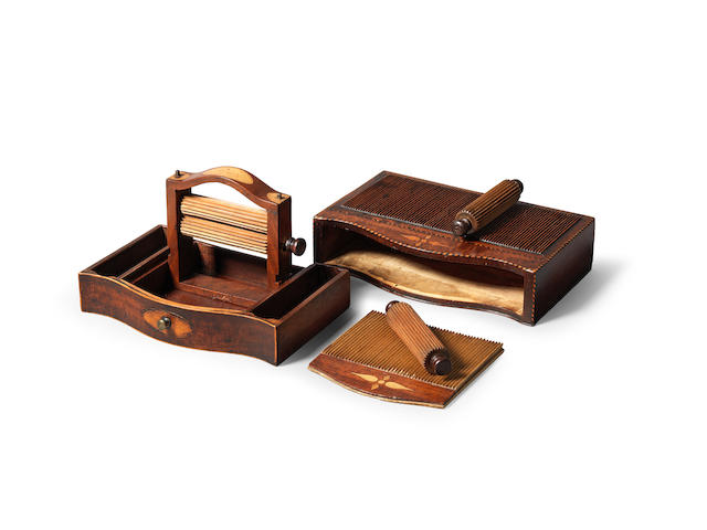 A rare, possibly unique, George III mahogany and inlaid travelling crimping set, circa 1780