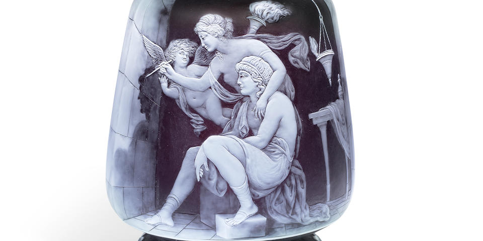 The Origin of Painting: An important cameo glass vase by George Woodall, late 19th century