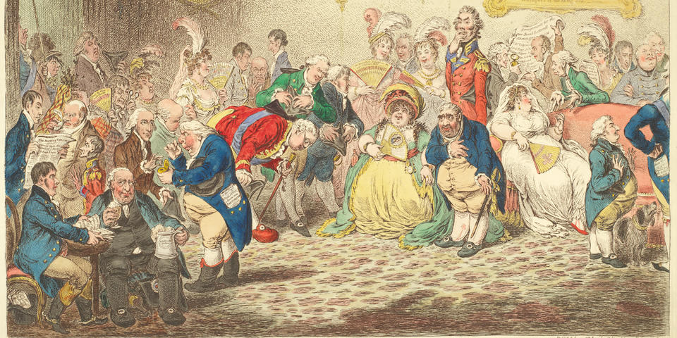 James Gillray (British, 1757-1815) L'Assemblée Nationale; - or - Grand Co-Operative Meeting at St. Ann's Hill Etching with hand-colouring, 1804, on wove, published by H. Humphrey, London, with trimmed margins, 336 x 482mm (13 1/4 x 19in)(SH)(unframed)