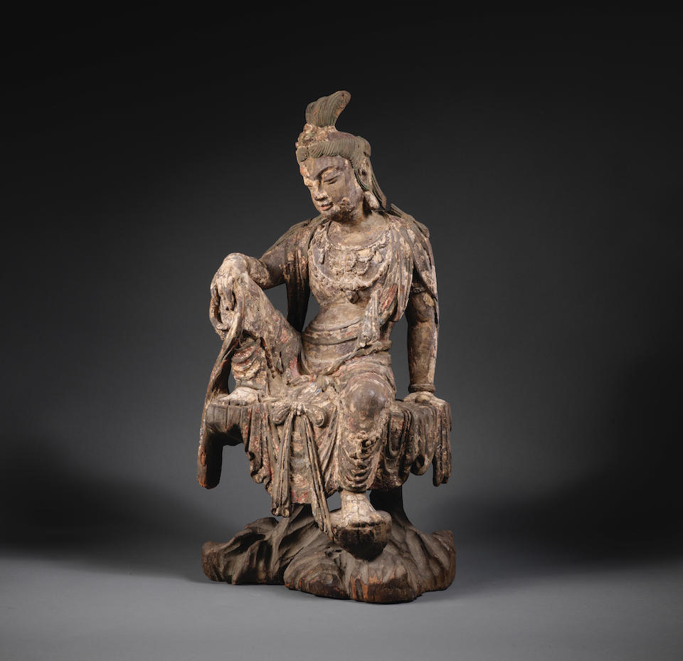 A very rare carved wood figure of Guanyin  Northern Song/Jin Dynasty
