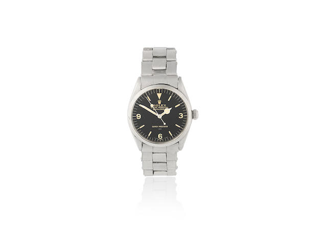 Rolex. A stainless steel automatic bracelet watch with gloss underline double -T 25 dial and original receipt  Explorer, Ref: 5500, Sold 11th June 1966