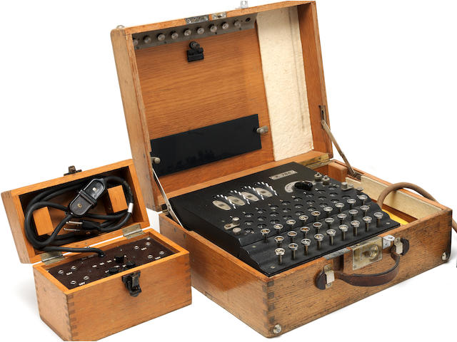 A Rare Swiss K 3-rotor Enigma Enciphering machine manufactured for the Swiss Government, Berlin, Heimsoeth and Rinke,  delivered 1938-40,