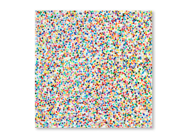 Damien Hirst (British, born 1965) Beverly Hills (H5-2) Diasec-mounted giclée print in colours, 2018, on aluminium, signed in pencil on the publisher's label affixed verso, stamp-numbered 81/100, published by Heni Productions, London, with their red ink stamp, with the original box, 900 x 900mm (35 3/8 x 35 3/8in)(overall)