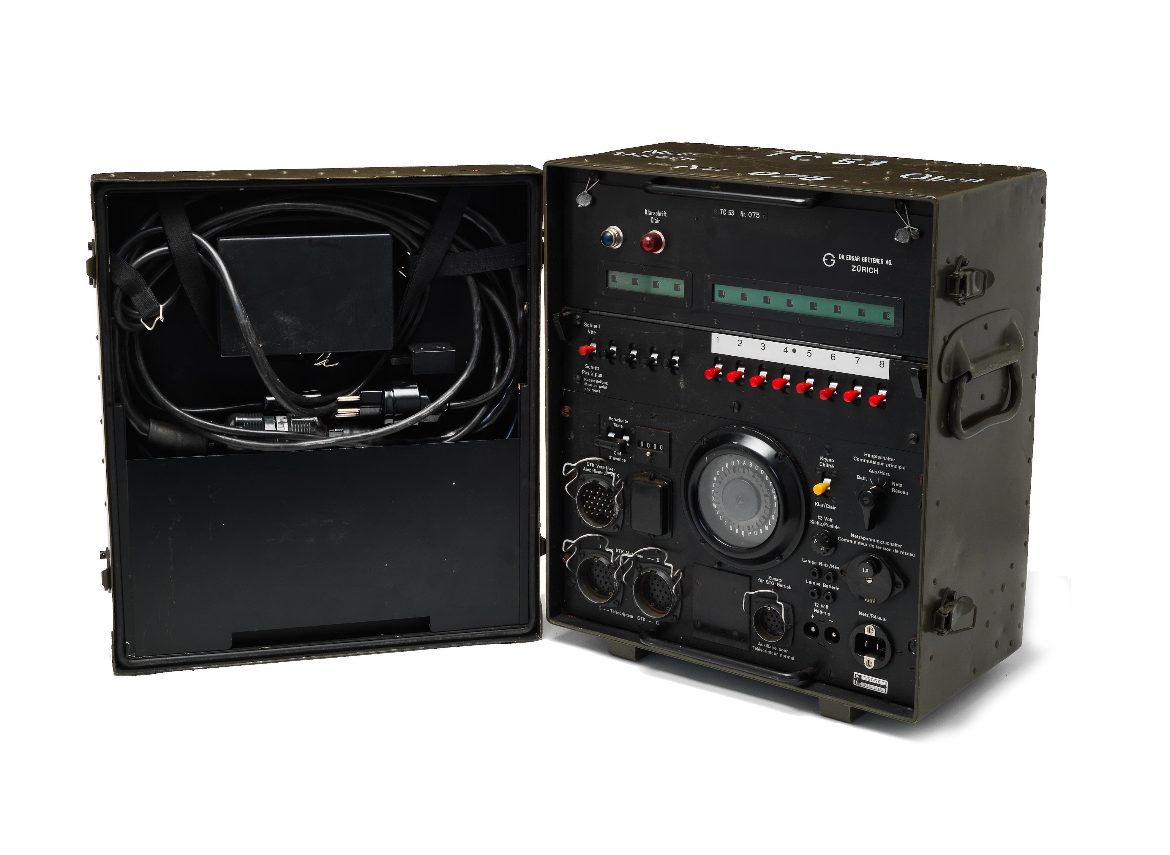 A Telecrypto 53 electromechanical wheel-based cipher machine,