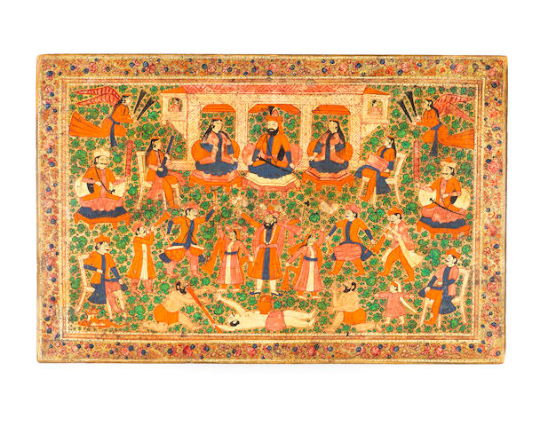 A lacquered wood writing box  Kashmir, late 19th Century