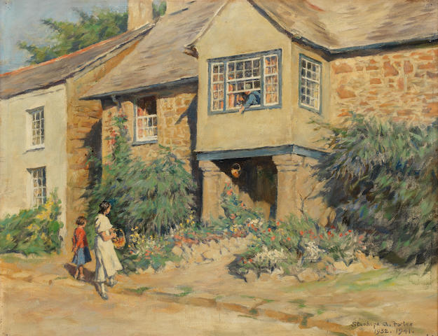 Stanhope Alexander Forbes, RA (British, 1857-1947) Sir Walter Raleigh's House at Mitchell, Cornwall