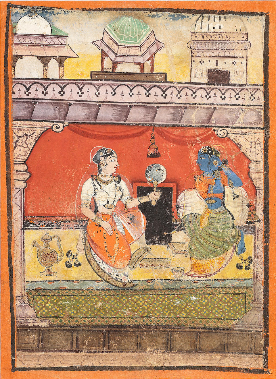 An illustration from a ragamala series: Vilavali ragini: a lady seated within a palace pavilion, adorning herself with jewellery Provincial Mughal, circa 1610