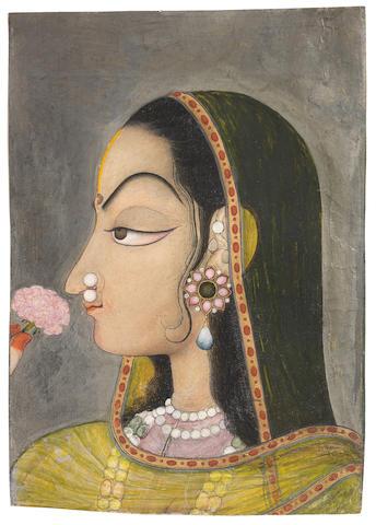 The courtesan Bani Thani, mistress of Maharajah Savant Singh (reg. 1748-64) Kishangarh, circa 1770