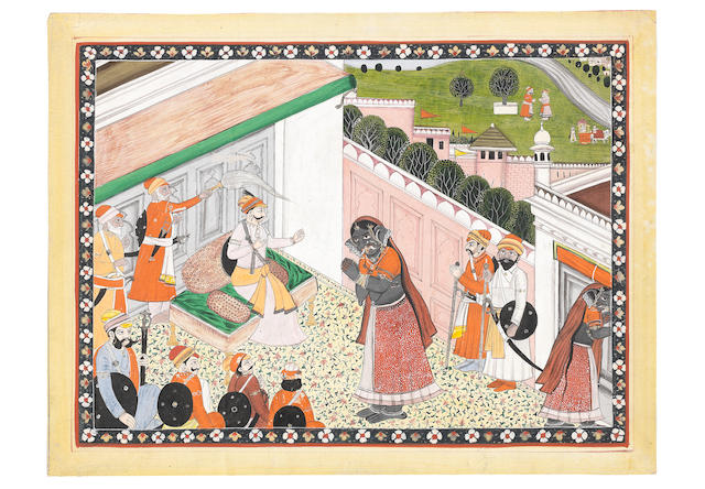 An episode from the Mahabharata, depicting a prince receiving, and spurning, a female demon Pahari, probably Mandi, circa 1840