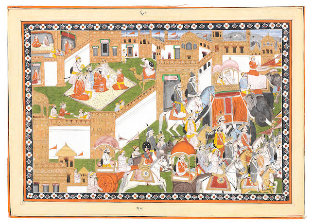 An episode from the Mahabharata, depicting the procession before the marriage of Krishna and Rukmini Pahari, probably Mandi, circa 1840