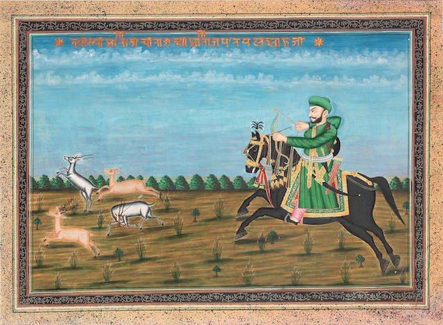 A ruler on horseback hunting deer with bow and arrow Central India, second half of the 19th Century