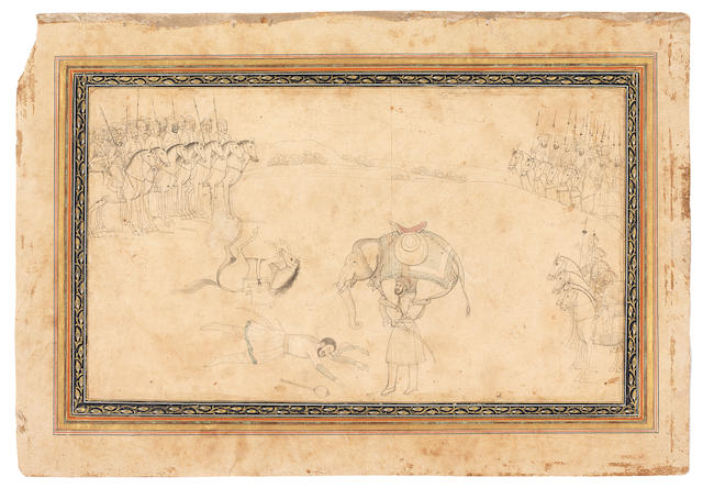 A warrior undergoing a trial of strength after single combat, while two armies look on Provincial Mughal, 18th Century