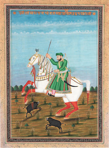 A ruler on horseback hunting boar Central India, second half of the 19th Century