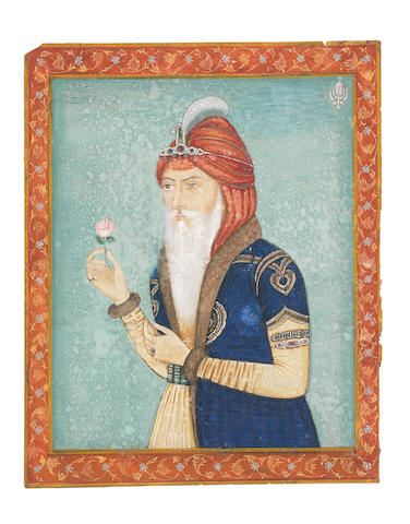 Maharajah Ranjit Singh holding a flower North India, early 20th Century