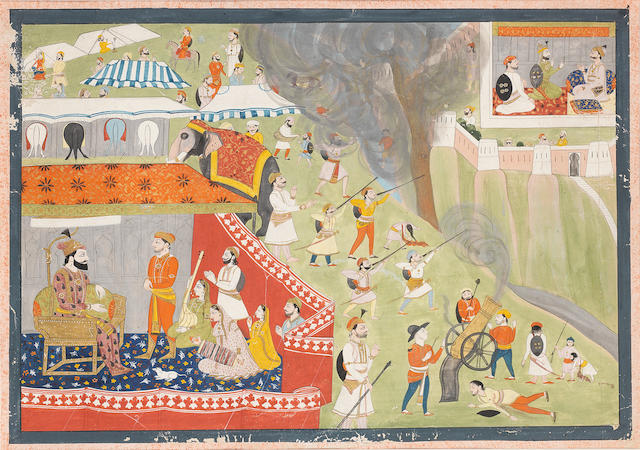 A ruler encamped, probably Sultan 'Ala Al-Din Khilji, while his troops fire on a besieged hill fort, perhaps Ranthambore, ruled by Raja Hamir Hath Pahari, Guler, mid-19th Century