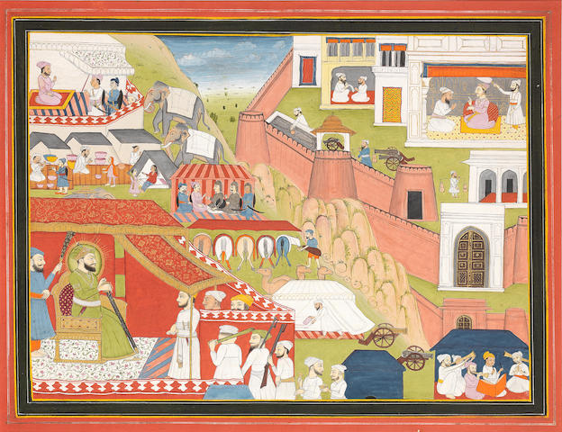 An extensive scene with a ruler receiving courtiers in an encampment outside a fortified city, probably Sultan 'Ala Al-Din Khilji, besieging Ranthambore, ruled by Raja Hamir Hath Jaipur, first half of the 19th Century
