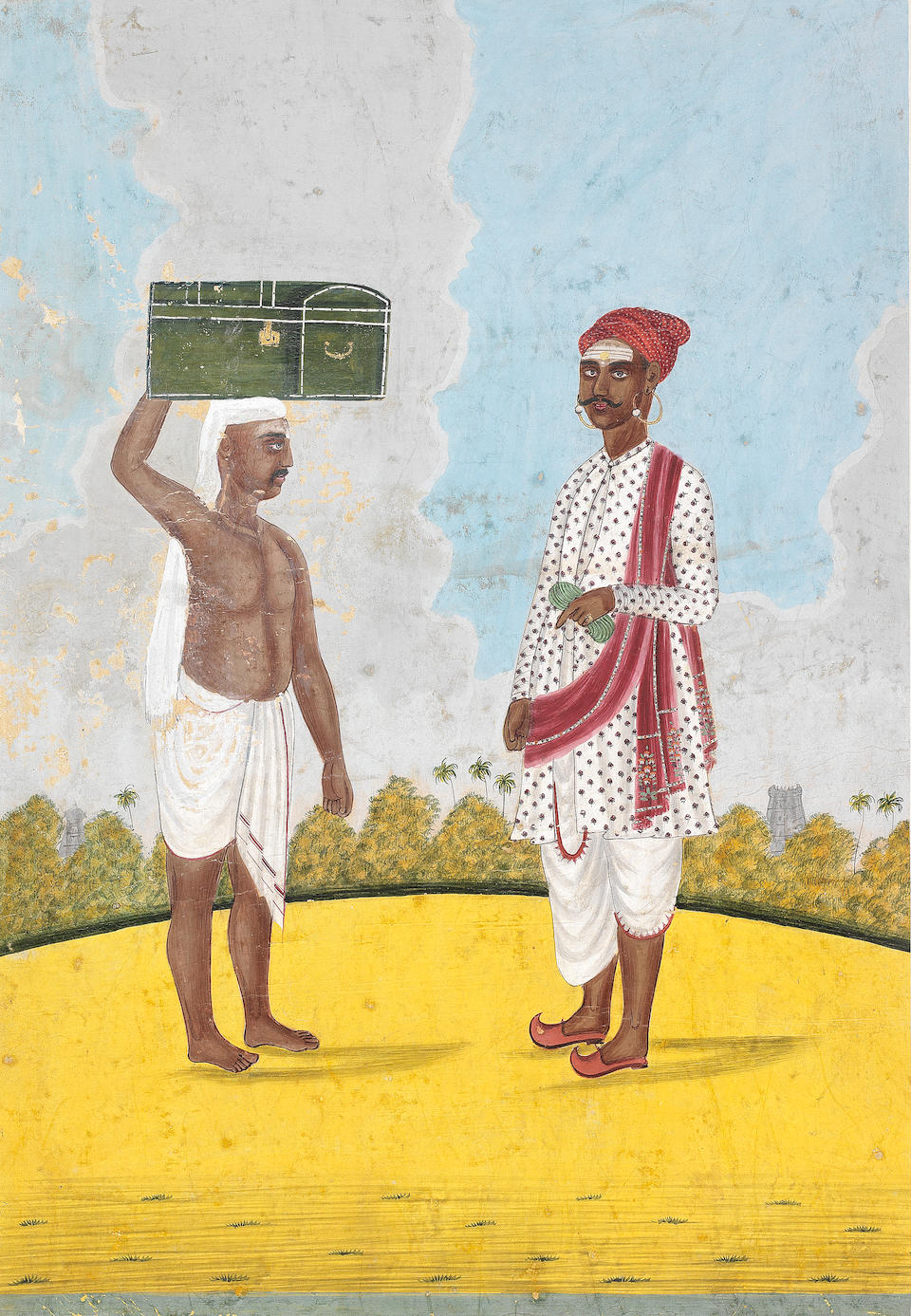 Three paintings depicting tradespeople: farmers irrigating their fields; a boatman and his wife; two pedlars Tanjore, South India, circa 1810(3)
