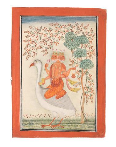 Brahma mounted on the goose Hamsa Bilaspur, circa 1700-20