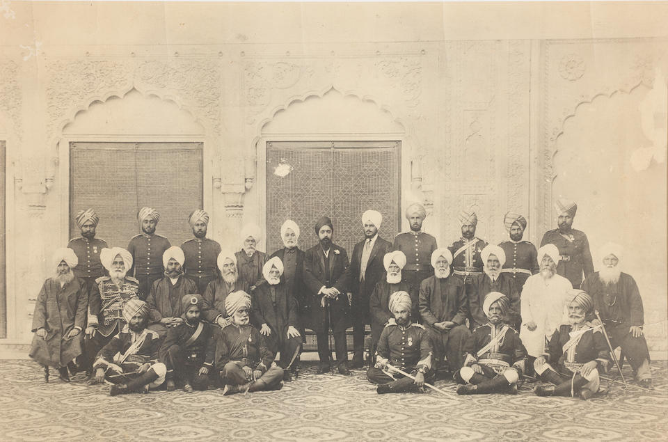 Two large group photographs of Maharajah Hira Singh of Nabha State (reg. 1871-1911), his heir (and later Maharajah) Prince Ripudaman Singh, and courtiers North India, Nabha, late 19th Century/early 20th Century(2)