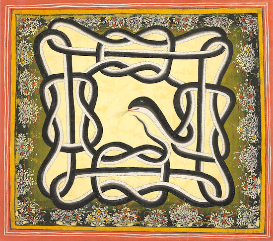 Naag Paash: a mystical diagram in the form of an entwined snake Udaipur, 18th Century