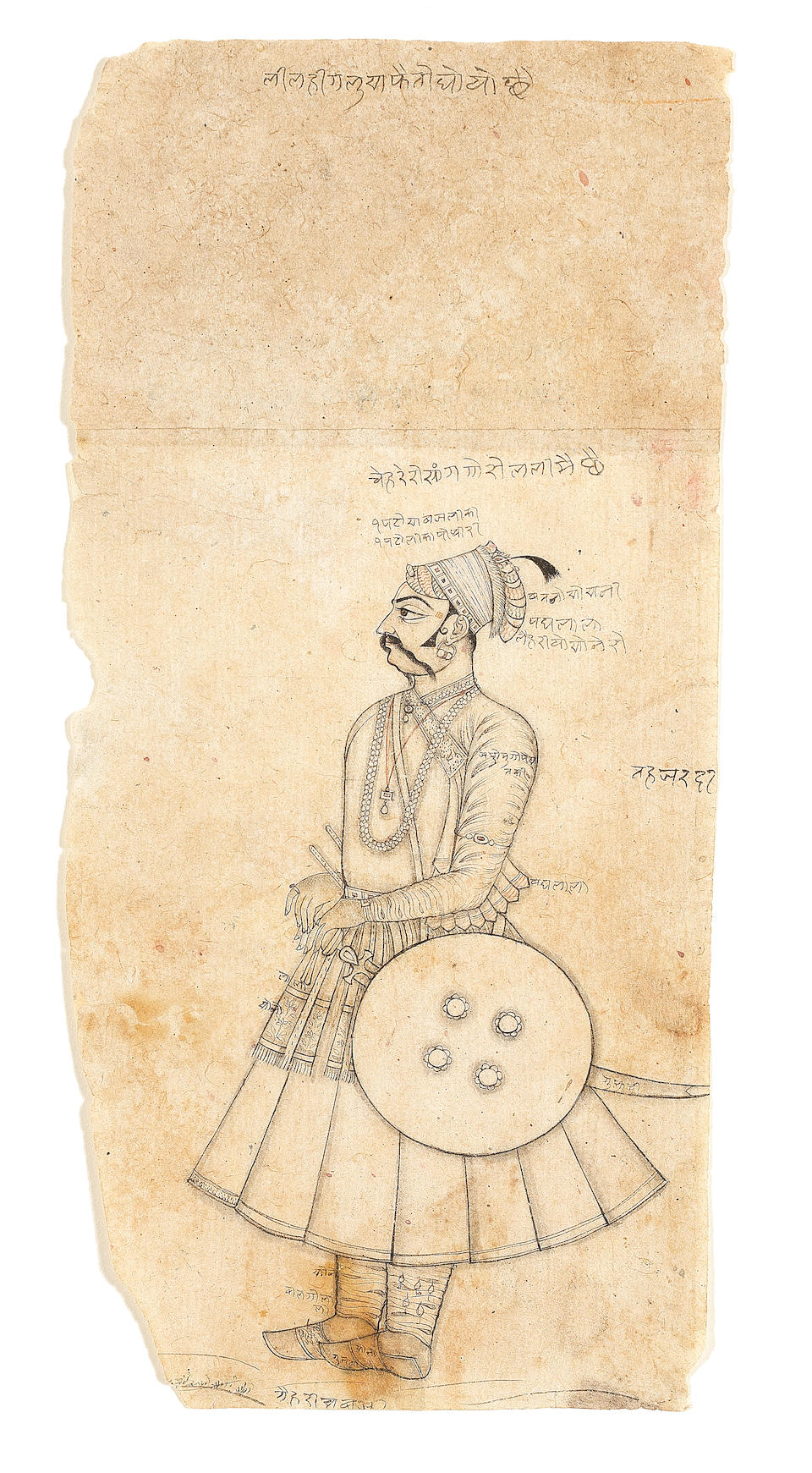 Two drawings, each depicting a prince, with unusual artist's annotations Bikaner, late 18th Century(2)