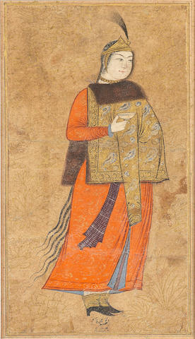 A maiden wearing a luxurious fur mantle, attributed to Muhammad Qasim Persia, Isfahan, dated AH 1004/AD 1596-1597