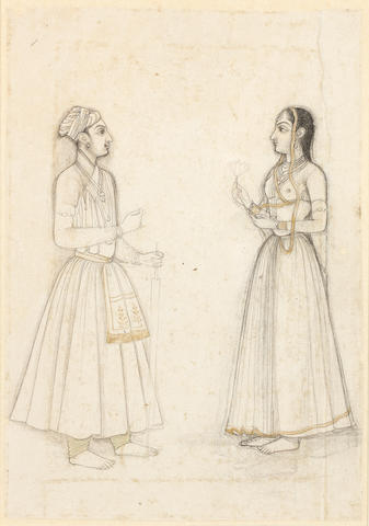 A prince and a maiden, standing facing each other Mughal, circa 1700