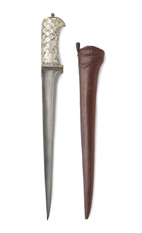 A mother of pearl hilted dagger (peshkabz) India, probably Gujarat, 17th Century