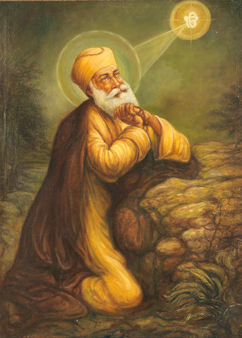 Guru Nanak kneeling in prayer Punjab, late 20th Century