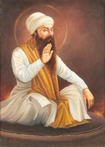 Guru Arjun, the fifth Sikh Guru, enduring his martyrdom by Bodhraj, 1987