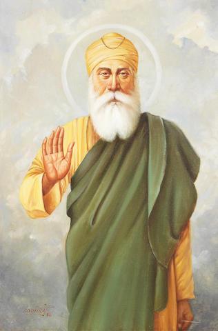 Guru Nanak, nimbate, with one hand raised in blessing by Bodhraj, 1986