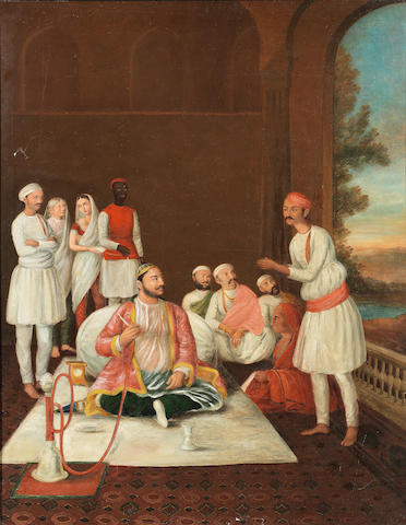A group of noblemen and servants on a terrace British School in north India, early 19th Century