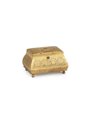 A Toledo ware gold damascened steel casket Spain, 19th Century