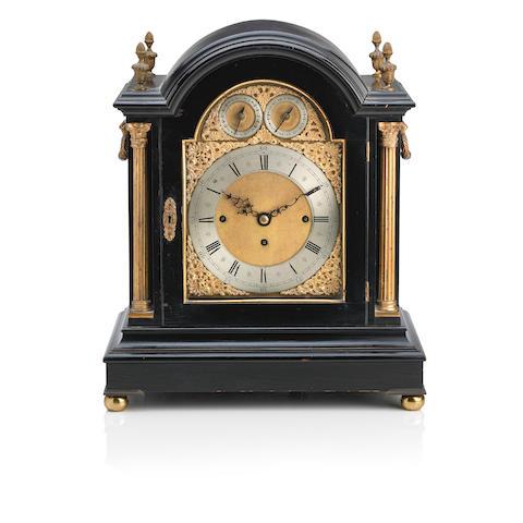 A late 19th century ebonized and gilt metal mounted bracket clock