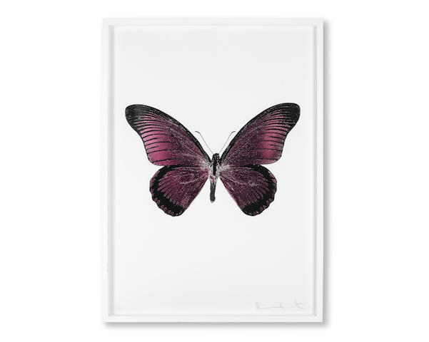Damien Hirst (British, born 1965) One Plate, from 'Souls IV' Foil print in loganberry pink, silver gloss and raven black, 2010, on Arches 88 archival paper, signed and numbered 10/15 in pencil, co-published by Other Criteria, London, and Paul Stolper, London, the full sheet, 720 x 510mm (28 3/8 x 20 1/8in)(SH)