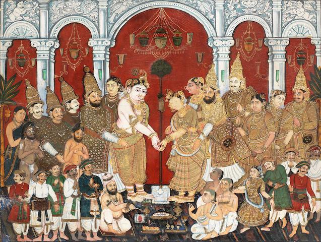 The Marriage of Krishna and Satyabhama South India, probably Mysore, late 19th Century