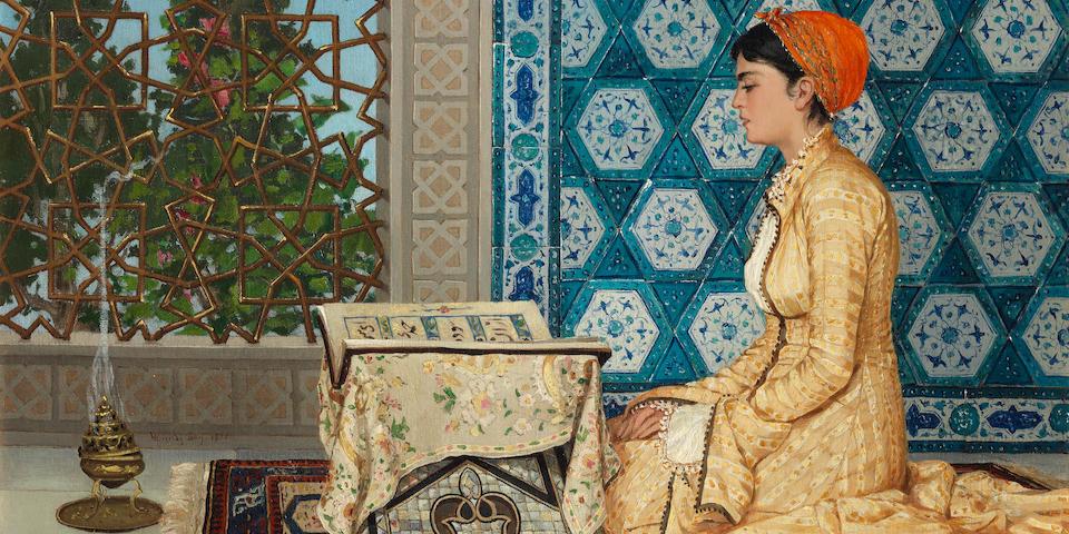 Osman Hamdi Bey (Turkish, 1842-1910) Young Woman Reading