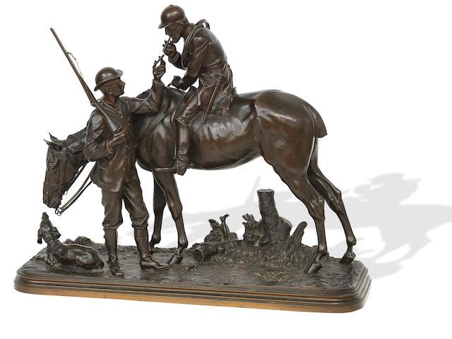 Isidore Jules Bonheur (French, 1827-1901) Bronze Huntsman Group
