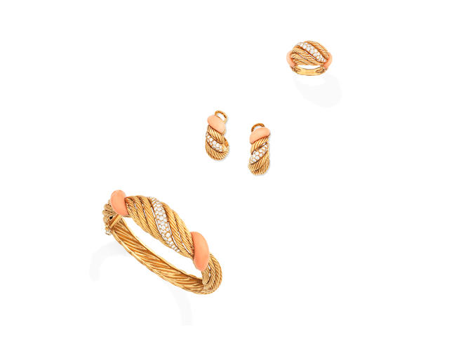A coral and diamond bangle, ring and earclip suite, circa 1965 (3)