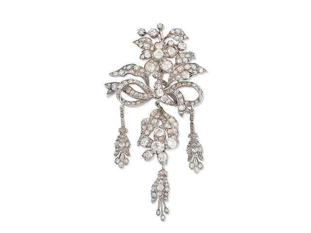 A diamond corsage ornament/brooch,