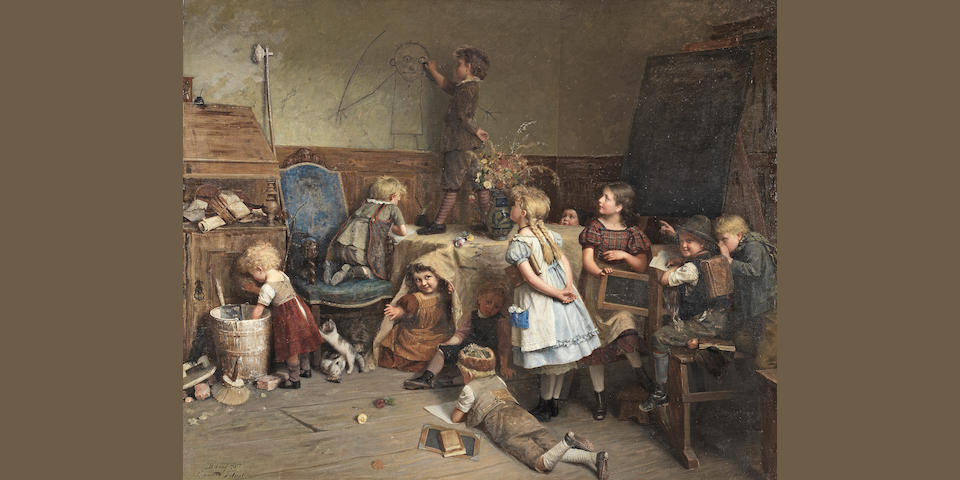 Eduard Schulz-Briesen, (German, 1831-1891) Young Artist - School Recess