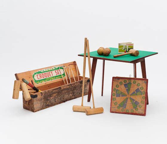 A JOHN JAQUES CROQUET SET, AUSTRALIAN DART BOARD AND SYDNEY IMPERIAL GAMES TABLE Mid 20th century  (3)